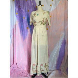 VINTAGE 1970s Flannel Cottagecore Night Maxi Dress